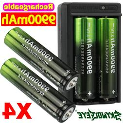4PCS Battery 3.7V Li-ion Rechargeable Batteries with Charger