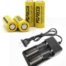 4pcs 26650 Battery Li-ion Rechargeable Battery+ 2 Slots Inte