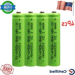 4PCS AAA 1000mAh NiMH Rechargeable Batteries Cells AAA+ for