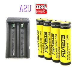 4pcs 18650 Battery 9900mAh 3.7V Rechargeable Battery For Fla