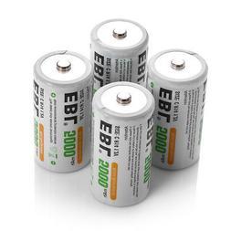 4pcs EBL C Size 1.2V 5000mAh Ni-MH Rechargeable Batteries