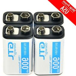 4PCS GTL Black Durable 9V 900mAh NiMh Power Rechargeable  Ba
