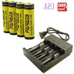 4pcs Rechargeable18650 9900mAh Battery 1pcs 4-Slots Charger