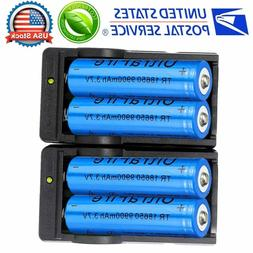 4X 18650 3.7V Li-ion Lithium Rechargeable Batteries + 2X Sma