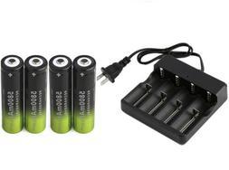4X 18650 5800mAh 3.7v rechargeable Li-Ion Battery +1X USA Sm