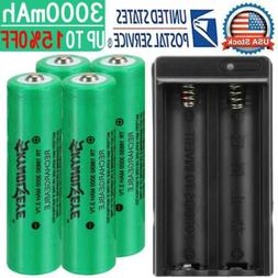 4x 18650 Battery 3000mAh 3.7V Li-ion Rechargeable Battery Fo