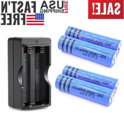 4x 3000mAh 18650 Battery 3.7v Rechargeable Batteries + Charg