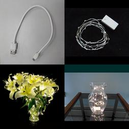 5.9 Ft Rechargeable Battery Operated Pure WHITE LED String L