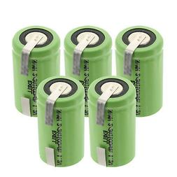 5-PACK Exell 2/3A 1100mAh 1.2V NIMH Rechargeable Batteries w