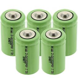 5-PACK Exell 2/3A 1600mAh 1.2V NIMH Rechargeable Button Top