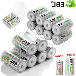 EBL 5000/10000mAh C D Size Cell NI-MH 1.2V Rechargeable Batt