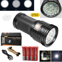 50000LM 18*XML T6 USB Rechargeable LED Tactical Flashlight T