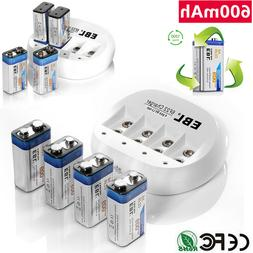 EBL 600mAh 9V 6F22 Li-Ion Rechargeable Batteries/ 4 Slots 9-