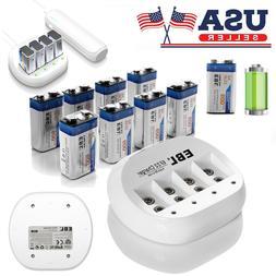 EBL Lot 600mAh 9V 6F22 Li-Ion Rechargeable Battery/4-Slot 9-