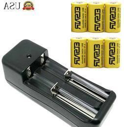6pcs 16340 CR123A 2800mAh 3.7v rechargeable Battery 1pcs Sma