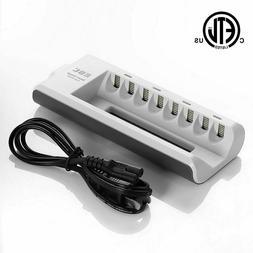 EBL 8 Bay AA AAA NiMH NiCD Rechargeable Battery Charger ETL