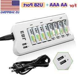 8-Slots Battery Charger for AA AAA NIMH NICD Rechargeable Ba