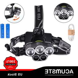 80000LM 5LED Headlamp Headlight Rechargeable Light+USB Cable