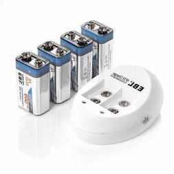 EBL 4-Pack 9V Batteries Li-ion 9 Volt Rechargeable Batteries