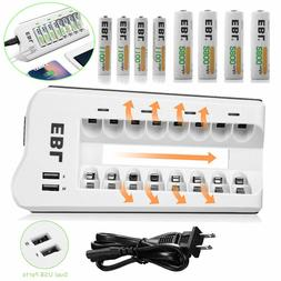 8Bay Battery Charger w/ Dual USB Ports+AA / AAA Nimh Recharg