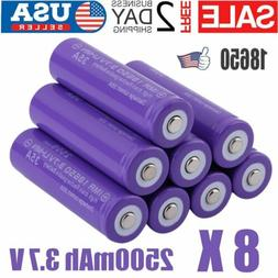 8Pcs 18650 3.7V 2500mAh Lithium Rechargeable Battery Cell Fo