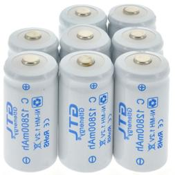 8pcs C size Rechargeable Batteries 1.2V 12800mAh Ni-MH Recha