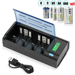 8x 800mAh AAA NIMH Rechargeable Batteries with 8 Channel AA
