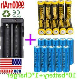 9900mAh Powerful 10Pcs 18650 Battery 3.7v Li-ion Rechargeabl