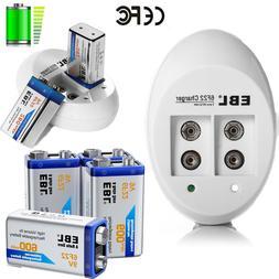 EBL Lot 9V 600mAh 6F22 Li-ion Rechargeable Batteries + 2 Slo