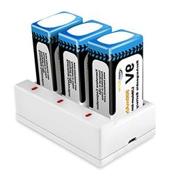 Keenstone 9V 800mAh Rechargeable Li-ion Battery with 3-Slot