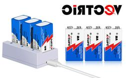 9V Rechargeable Li-ion Battery 800mAh VECTRIC 6 Packs with S