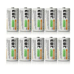 EBL 10 Pack D Size D Cell 10,000mah High Capacity High Rate