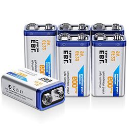 EBL 9 Volt 600mAh Li-ion Rechargeable 9V Batteries Lithium-i