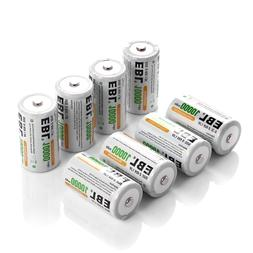 EBL Pack of 8 10000mAh Ni-MH D Cells Rechargeable Batteries,