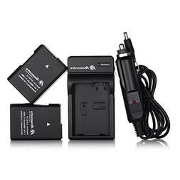 Powerextra EN-EL14 EN-EL14a 2 x Battery & Car Charger Compat