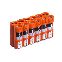 Storacell by Powerpax AA Battery Caddy, Orange, Holds 12 Bat