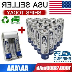 AA/AAA Battery 1.2V Rechargeable 3000/1000mAh Batteries For
