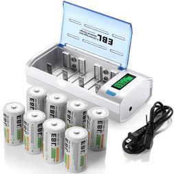 8x EBL D Size D Cell Rechargeable Batteries 10000mAh w/NIMH