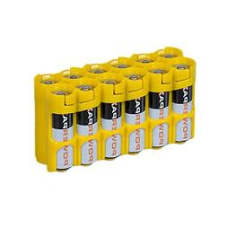 Storacell 12AACY by Powerpax AA Battery Caddy, Yellow, Holds