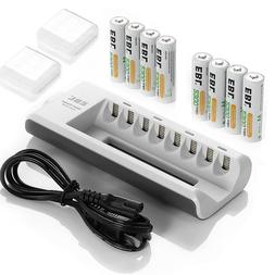 8x EBL 2300mAh NiMH AA Rechargeable Batteries With 8Slots AA