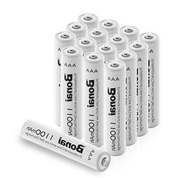 Bonai 16 Packs 1100mAh AAA Rechargeable Batteries 1.2V Ni-MH