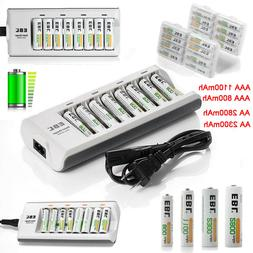 EBL Lot AA AAA Ni-MH Rechargeable Batteries + 8-Slots Charge