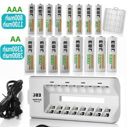 EBL AAA AA NIMH Rechargeable Batteries With 8-Slots Charger