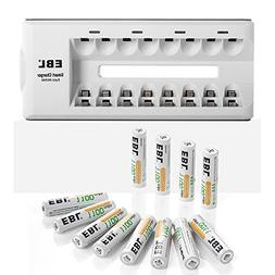 EBL 12 Pack 1100mAh AAA Ni-MH Rechargeable Batteries with 8