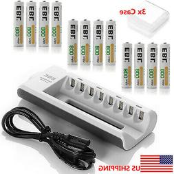 12x AAA 800mAh NIMH Rechargeable Batteries + 8-channel AA AA