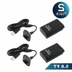 REDGO Battery Pack + Charger Cable for Microsoft Xbox 360 Wi