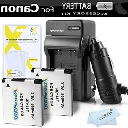 2 Pack Battery And Charger Kit For Canon Powershot ELPH 180,