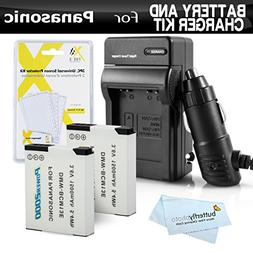 2 Pack Battery and Charger Kit for Panasonic Lumix ZS50, DMC