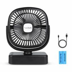 Battery Operated Desk Fan 4400mA USB Rechargeable w/ LED Lig