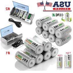 EBL Lot C D Size 5000mAh/10000mAh Cell Rechargeable Batterie
